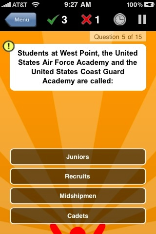 Screenshot U.S. Military Trivia
